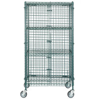 """Regency NSF Mobile Green Wire Security Cage Kit - 18"""" x 36"""" x 69"""""""
