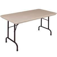 Correll R2448-24 24 inch x 48 inch Mocha Granite Blow-Molded Plastic Heavy-Duty Folding Table
