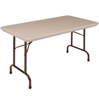 Correll Heavy-Duty Folding Table, 24 inch x 48 inch Blow-Molded Plastic, Mocha Granite - R2448-24