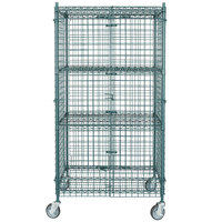 """Regency NSF Mobile Green Wire Security Cage Kit - 24"""" x 36"""" x 69"""""""