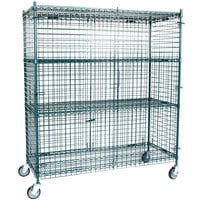 Regency NSF Mobile Green Wire Security Cage Kit -24 inch x 60 inch x 69 inch
