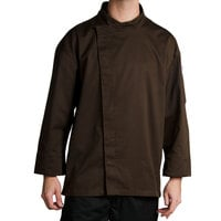 Chef Revival J113EXP-L Knife and Steel Size 46 (L) Espresso Brown Customizable Chef Jacket with 3/4 Sleeves and Hidden Snap Buttons - Poly-Cotton