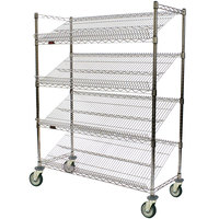 Eagle Group M1860C-4 60 inch x 18 inch Chrome 4 Shelf Angled Merchandising Cart