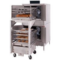 Blodgett DFG-200-ES Premium Series Natural Gas Double Deck Full Size Roll-In Bakery Depth Convection Oven with Draft Diverter - 100,000 BTU