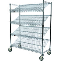 Eagle Group M1860Z-4 60 inch x 18 inch EAGLEbrite Zinc 4 Shelf Angled Merchandising Cart
