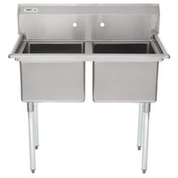 "Regency 41"" 16-Gauge Stainless Steel Two Compartment Commercial Sink without Drainboards - 17"" x 17"" x 12"" Bowls"