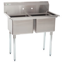 Regency 41 inch 16-Gauge Stainless Steel Two Compartment Commercial Sink without Drainboards - 17 inch x 17 inch x 12 inch Bowls