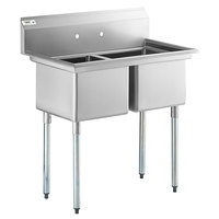 Regency 41 inch 16-Gauge Stainless Steel Two Compartment Commercial Sink with Galvanized Steel Legs and without Drainboards - 17 inch x 17 inch x 12 inch Bowls