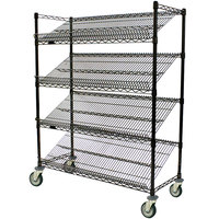 Eagle Group M1860BL-4 60 inch x 18 inch Black 4 Shelf Angled Merchandising Cart