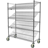 Eagle Group M1836V-4 36 inch x 18 inch Valu-Master Gray 4 Shelf Angled Merchandising Cart