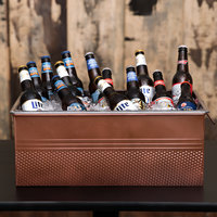 American Metalcraft Full Size Copper Rectangular Hammered Ice Display / Beverage Tub with Clear Food Pan