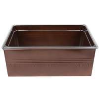 Full Size Copper Rectangular Hammered Ice Display / Beverage Tub with Clear Food Pan