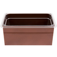 American Metalcraft 1/3 Size Copper Rectangular Hammered Ice Display / Beverage Tub with Clear Food Pan - 6.75 Qt