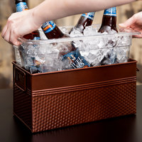 1/3 Size Copper Rectangular Hammered Ice Display / Beverage Tub with Clear Food Pan - 6.75 Qt
