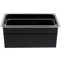 1/3 Size Black Rectangular Hammered Ice Display / Beverage Tub with Clear Food Pan