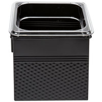 1/6 Size Black Square Hammered Ice Display / Beverage Tub with Clear Food Pan
