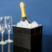 1/6 Size Black Square Hammered Ice Display / Beverage Tub with Clear Food Pan - 3.375 Qt.