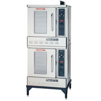 Blodgett DFG-50 Premium Series Natural Gas Double Deck Half Size Convection Oven with Draft Diverter - 54,000 BTU