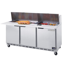 Beverage-Air SPE72HC-08C 72 inch 3 Door Cutting Top Refrigerated Sandwich Prep Table with 17 inch Wide Cutting Board