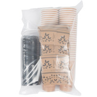Choice 20 oz. Kraft Paper Hot Cup, Lid, and Sleeve Combo Kit - 50/Pack