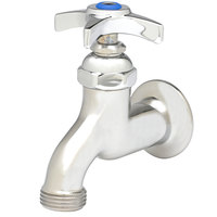 T&S B-0702 Single Sink Faucet with 1/2 inch NPT Female Inlet, 4 Arm Handle, Blue Index, and 3/4 inch Garden Hose Outlet