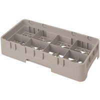 Cambro 8HS318184 Beige Camrack Customizable 8 Compartment 3 5/8 inch Half Size Glass Rack