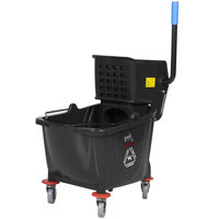 Lavex Janitorial 35 Qt. Black Mop Bucket & Side Press Wringer Combo