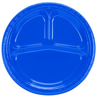 Creative Converting 319032 10 1/4 inch Cobalt 3-Compartment Plastic Banquet Plate - 200 / Case