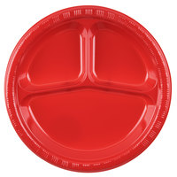 Creative Converting 019548 10 inch 3 Compartment Classic Red Plastic Plate - 20/Pack
