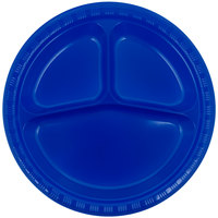 Creative Converting 319032 10 inch 3 Compartment Cobalt Blue Plastic Plate - 20/Pack