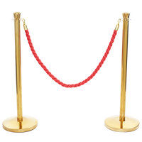 Lancaster Table & Seating 40 inch Gold Rope-Style Crowd Control / Guidance Stanchion Set with 5' Red Rope