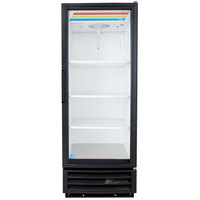 True GDM-12-HC-LD Black Glass Door Refrigerated Merchandiser with LED Lighting