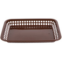 Tablecraft 1079BR Mas Grande 11 3/4 inch x 8 1/2 inch x 1 1/2 inch Brown Rectangular Polypropylene Fast Food Basket - 12/Pack
