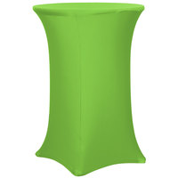 Snap Drape CC30R42-LIME GREEN Contour Cover 30 inch Round Lime Green Bar Height Spandex Table Cover