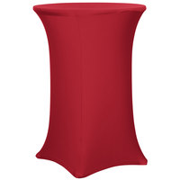 Snap Drape CC30R42-CRIMSON Contour Cover 30 inch Round Crimson Bar Height Spandex Table Cover