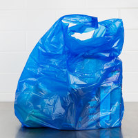 18 inch x 7 inch x 32 inch .75 Mil Blue Unprinted Heavy-Duty Plastic T-Shirt Bag - 400/Case