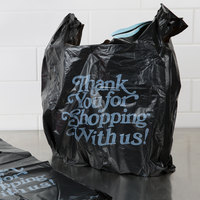 13 inch x 10 inch x 23 inch .83 Mil Black Thank You Heavy-Duty Plastic T-Shirt Bag - 400/Case