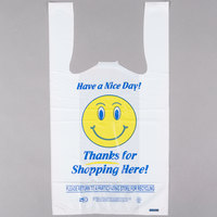 1/8 Size .63 Mil White Happy Face Heavy-Duty Plastic T-Shirt Bag   - 700/Case