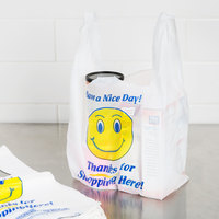 1/8 Size .63 Mil White Happy Face Heavy-Duty Plastic T-Shirt Bag - 700/Case