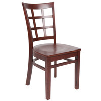 Lancaster Table &amp&#x3b; Seating Mahogany Finish Wooden Window Back Cafe Chair