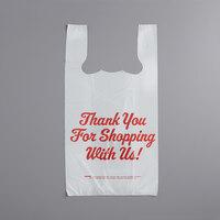 Choice 1/6 Size .71 Mil White Thank You Heavy-Duty Plastic T-Shirt Bag - 600/Case