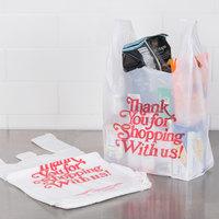 1/6 Size .71 Mil White Thank You Heavy-Duty Plastic T-Shirt Bag - 600/Case