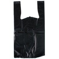 1/6 Size 1.18 Mil Black Unprinted Embossed Extra Heavy-Duty Plastic T-Shirt Bag   - 150/Case