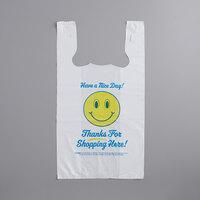 Choice 1/6 Size .71 Mil White Happy Face Heavy-Duty Plastic T-Shirt Bag - 500/Case