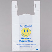 1/6 Size .71 Mil White Happy Face Heavy-Duty Plastic T-Shirt Bag - 500/Case