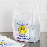 1/6 Size .71 Mil White Happy Face Heavy-Duty Plastic T-Shirt Bag - 500/Case