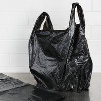 17 inch x 8 inch x 29 inch .71 Mil Black Unprinted Plastic T-Shirt Bag - 400/Case