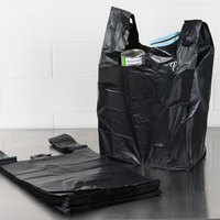 1/6 Size .87 Mil Black Unprinted Embossed Heavy-Duty Plastic T-Shirt Bag - 350/Case