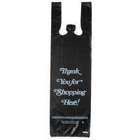 6 inch x 4 inch x 20 inch .98 Mil Black Thank You Heavy-Duty Liquor Bag - 1000/Case