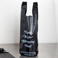 6 inch x 4 inch x 20 inch .98 Mil Black Thank You Heavy-Duty Liquor Bag - 1000/Case